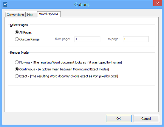 Specify Conversion Settings